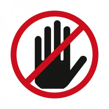 Red stop hand sign.Vector illustration - you can simply change color and size