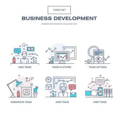 Modern thin line business icons set of application development