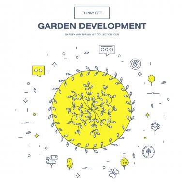Modern thin line garden isolated flower icon set