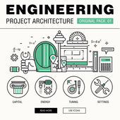 Fotografie Modern engineering construction big pack. Thin line icons archit