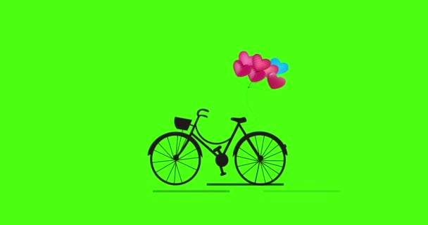 Bicycle animation with a heart shape balloon for Valentines Day. Bicycle Loop Animation Isolated on green screen with Luma Matte.