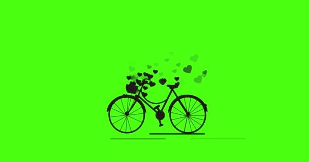 Kolo s romantickou ikonou srdce animace. Zelená obrazovka s alfa matnou