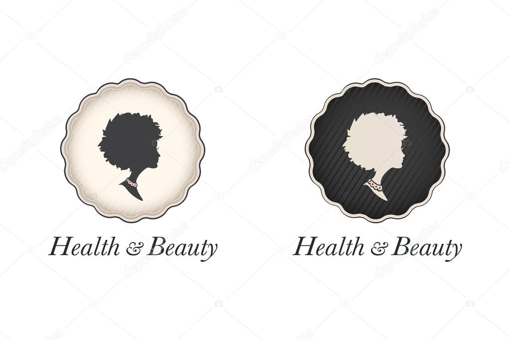 Woman profile silhouette set in a round frames with copy