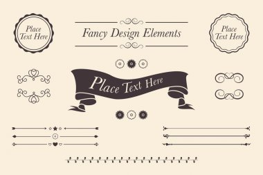 Fancy design elements. Shabby Chic vector icons, emblems, banners and seals with copy space text.