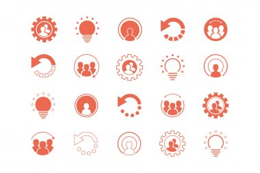 Set of icons, logos and design elements in coral pin marker frames.