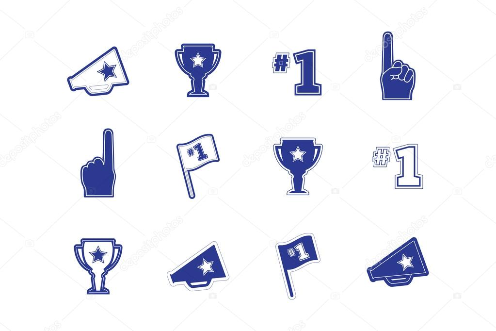 Set of sports fan and team icons, logos, frames and text in blue and ...