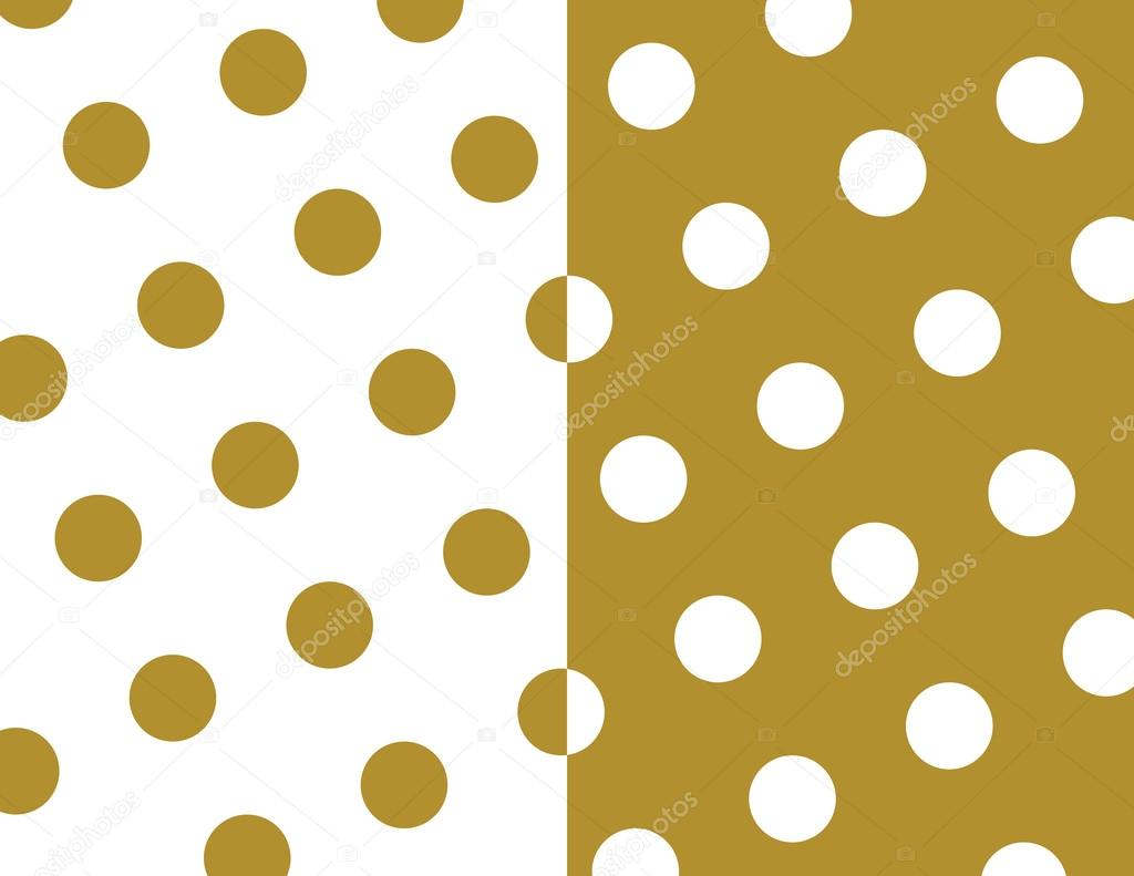 Seamless Polka Dots Wallpaper Background Set In Gold And