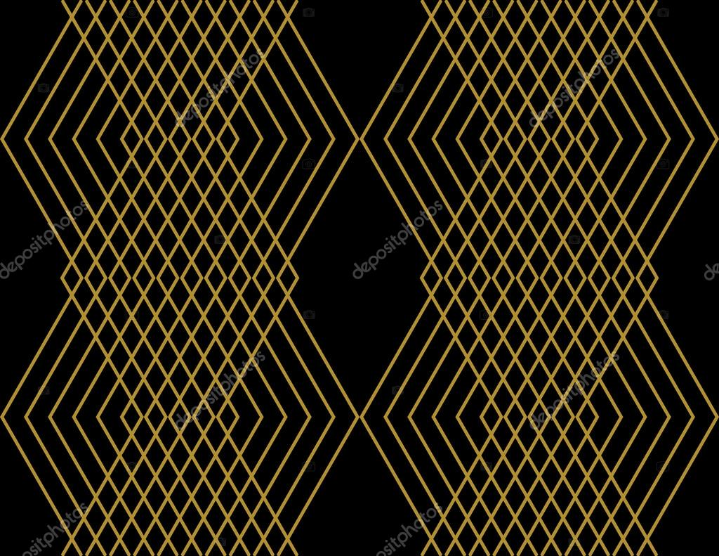 Diamond Aztec Pattern Wallpaper Design In Gold On A Black Background Seamless Zig Zag Vector Texture Paper Backdrop By Untashable