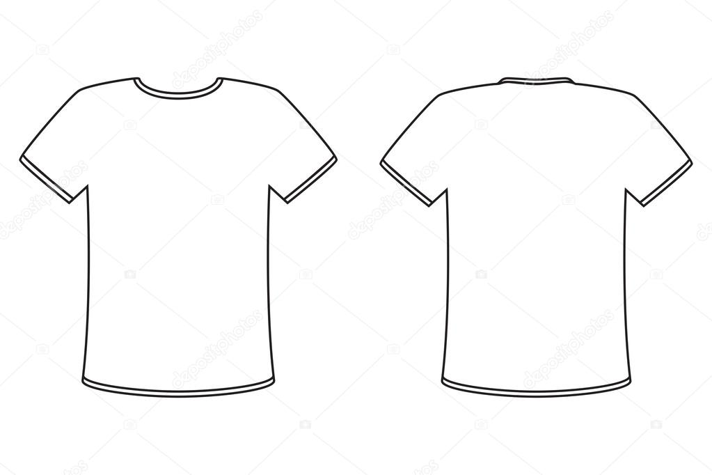 Plantilla en blanco de diseño t-shirt vector. Simple frente y parte ...