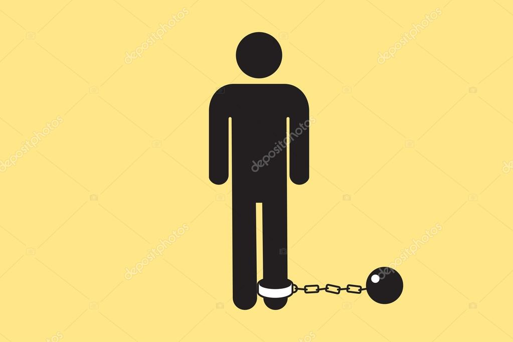 Bathroom Door Man Icon With A Ball And Chain Vector Silhouette Of A - Male bathroom sign