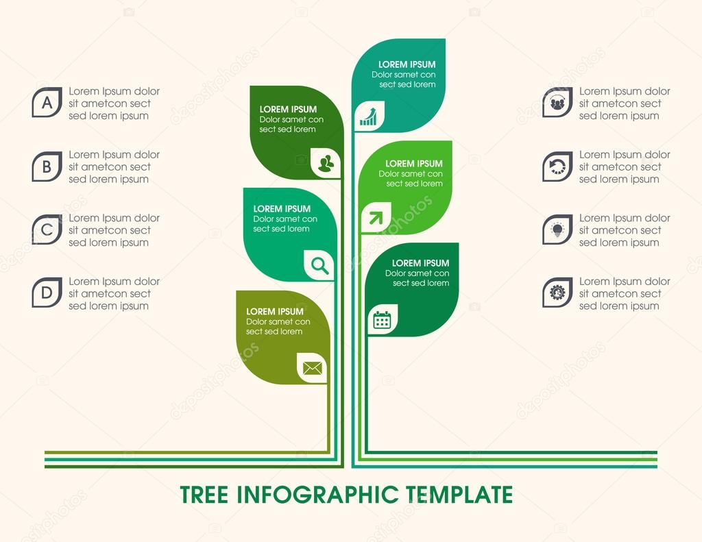 tree infographic with icons numbers and placeholder text. Black Bedroom Furniture Sets. Home Design Ideas