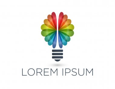 Rainbow brain and light bulb logo and placeholder text. Company brand concept.
