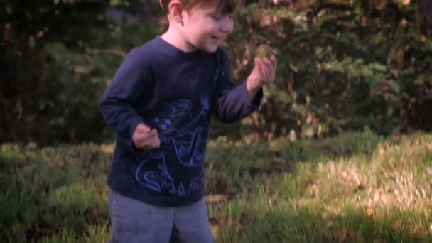 A beautiful young boy picks something up, smiles, and walks toward the camera.