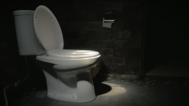 Dolly shot of a white toilet in a dark room with the lid up