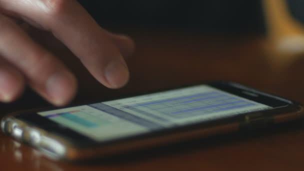 Man scrollt durch Diagramme und Analyse von Daten auf seinem Smartphone hautnah Einschub-