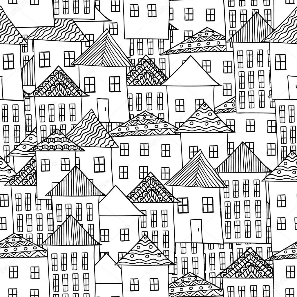 Sihirli şehir Sorunsuz Pattren Colorieng Kitap Yetişkinler Için