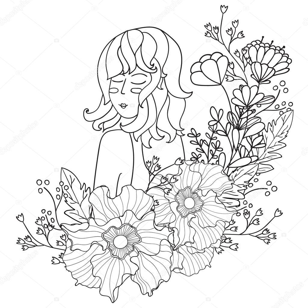 Vector ilustración negro y mujer blanca con flores. páginas para ...