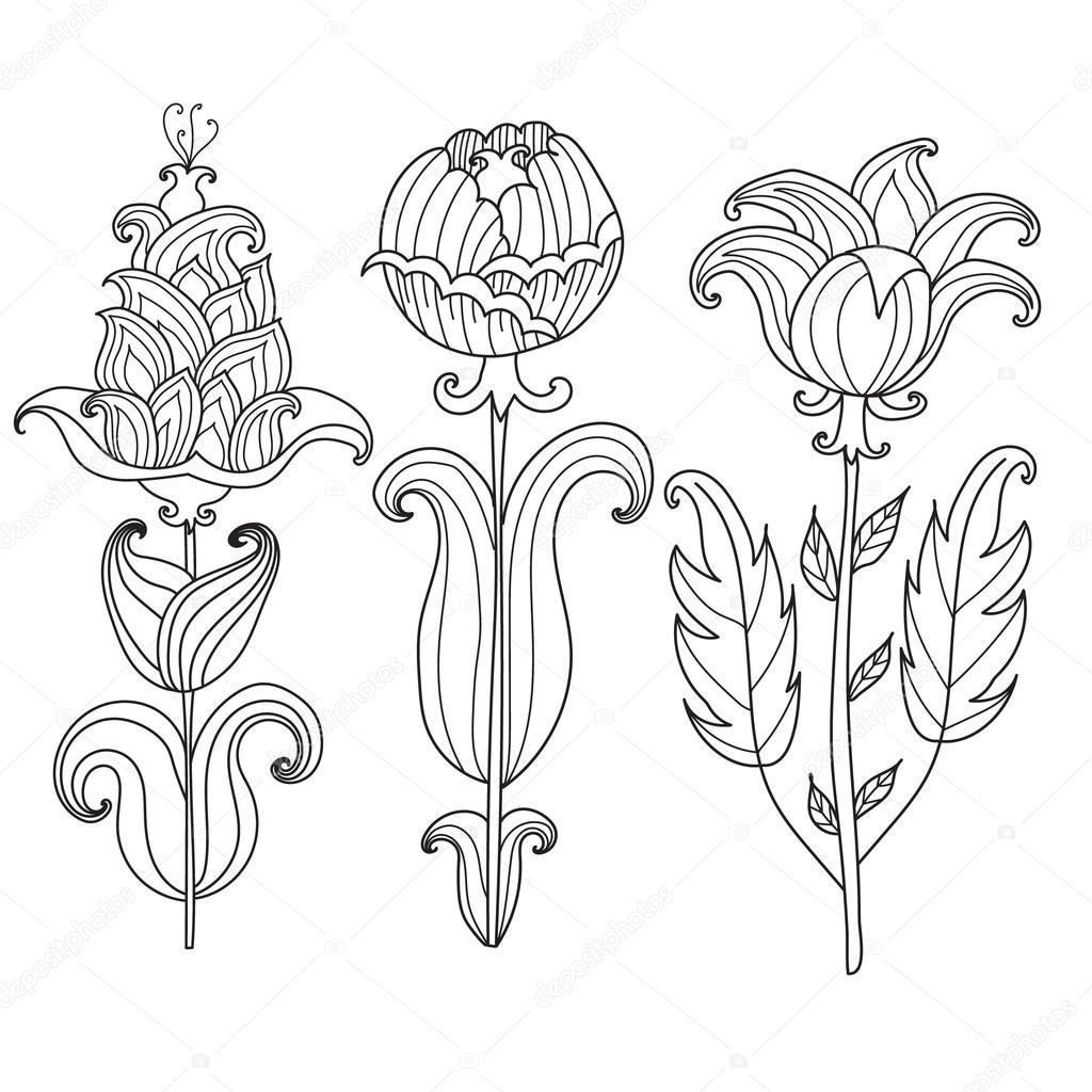 Vector hermosa monocromo contorno flor, página Element.Coloring ...