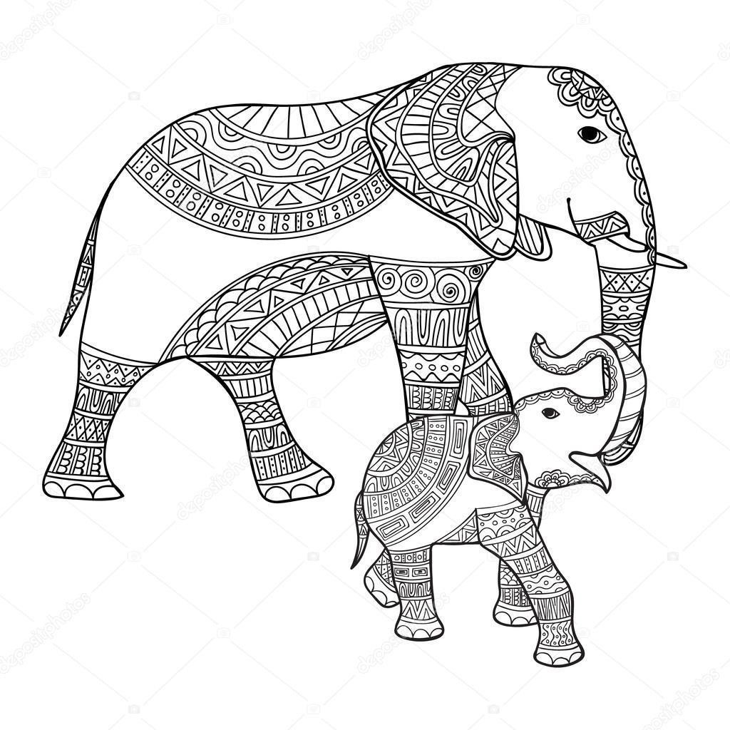 Coloriage Bebe Elephant.Elephant De Mere Et Son Bebe Noir Blanc Doodle Imprime Avec Des