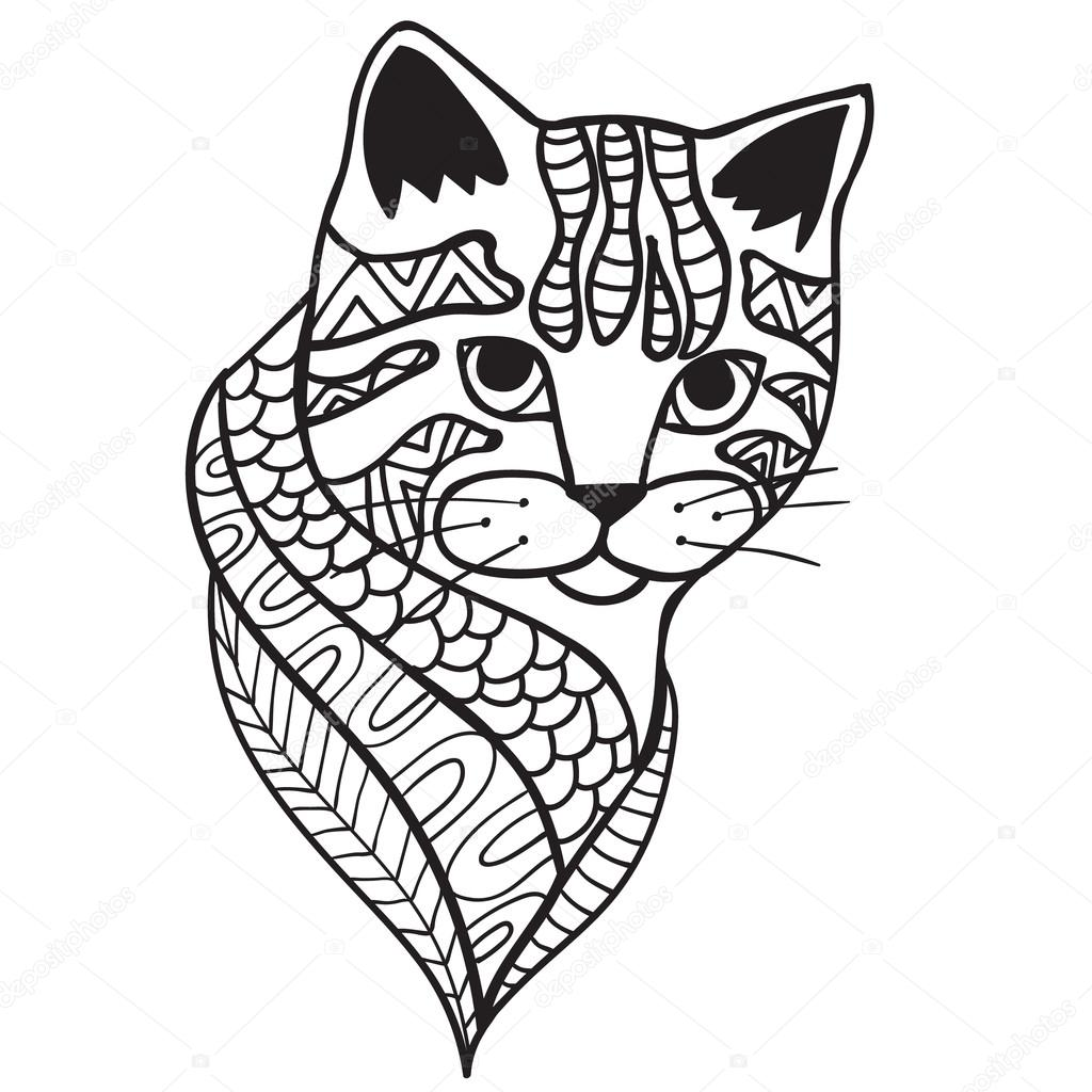 Gato blanco y negro doodle impresión con estampados étnicos ...