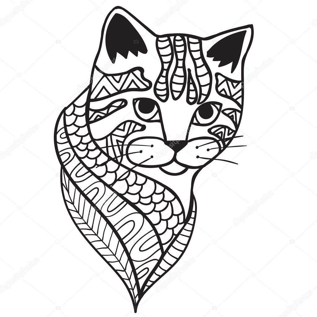 zwart wit doodle print met etnische patronen