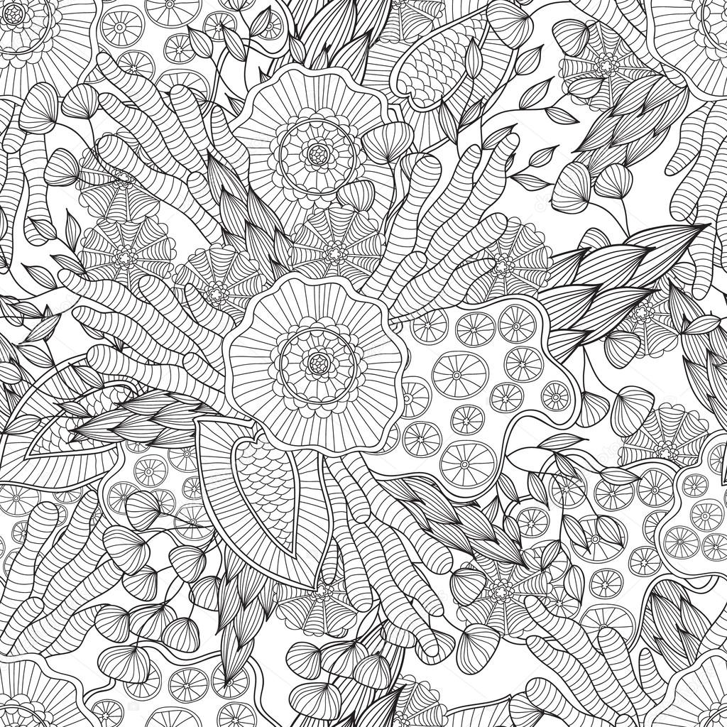 Pages for adult coloring book. Hand drawn artistic ethnic ornamental patterned floral frame in doodle.