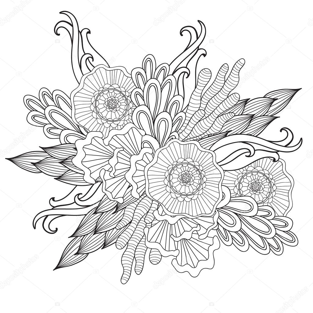Hand drawn artistic ethnic ornamental patterned floral frame in doodle style,adult coloring pages.