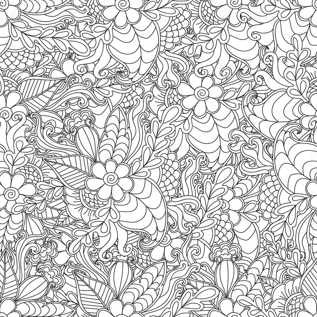 Páginas para adultos para colorear libro. Mano dibujada artística ...