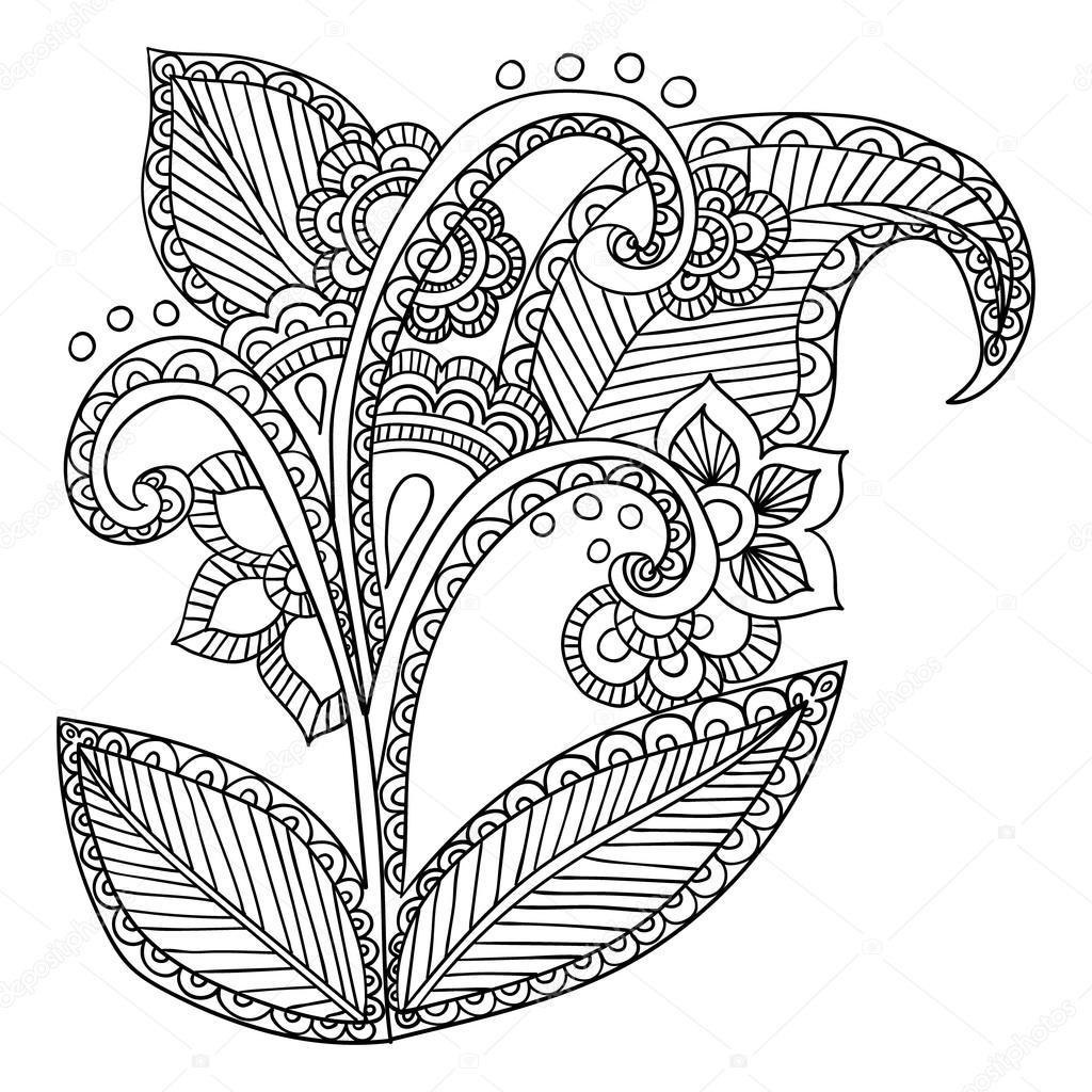 Mano dibuja artística ornamental étnica con motivos — Vector de ...