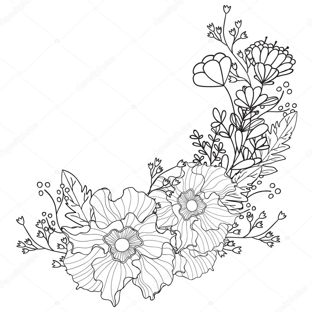 Hand Drawn Artistic Ethnic Ornamental Patterned Floral Frame In Doodle Zentangle Style For Adult Coloring Pages Tattoo T Shirt Or Prints