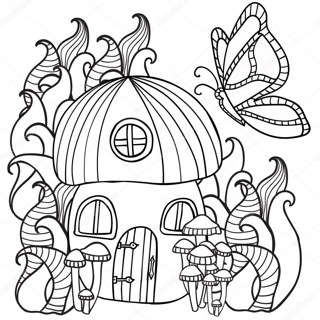 Coloring pages mushroom house with a butterfly in the fores stock illustration