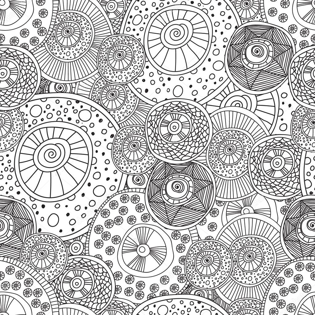 Coloring pages for adults book.Seamless black and white abstract pattern with circle.