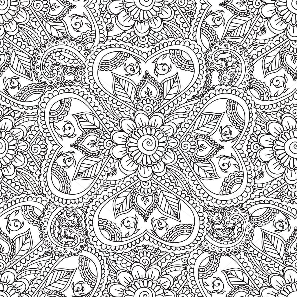 Kleurplaten Voor Volwassenen Abstract.Kleurplaten Voor Volwassenen Gelast Henna Mehndi Doodles Abstract