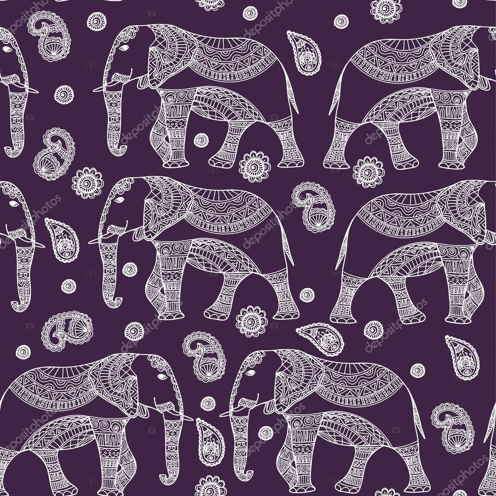 Seamless Pattern with Hand Drawn Vintage vector Indian elephant. Zenart Stylized.For Hindu, African, Indian, Thai, boho design, spiritual print, wrapping and textiles.