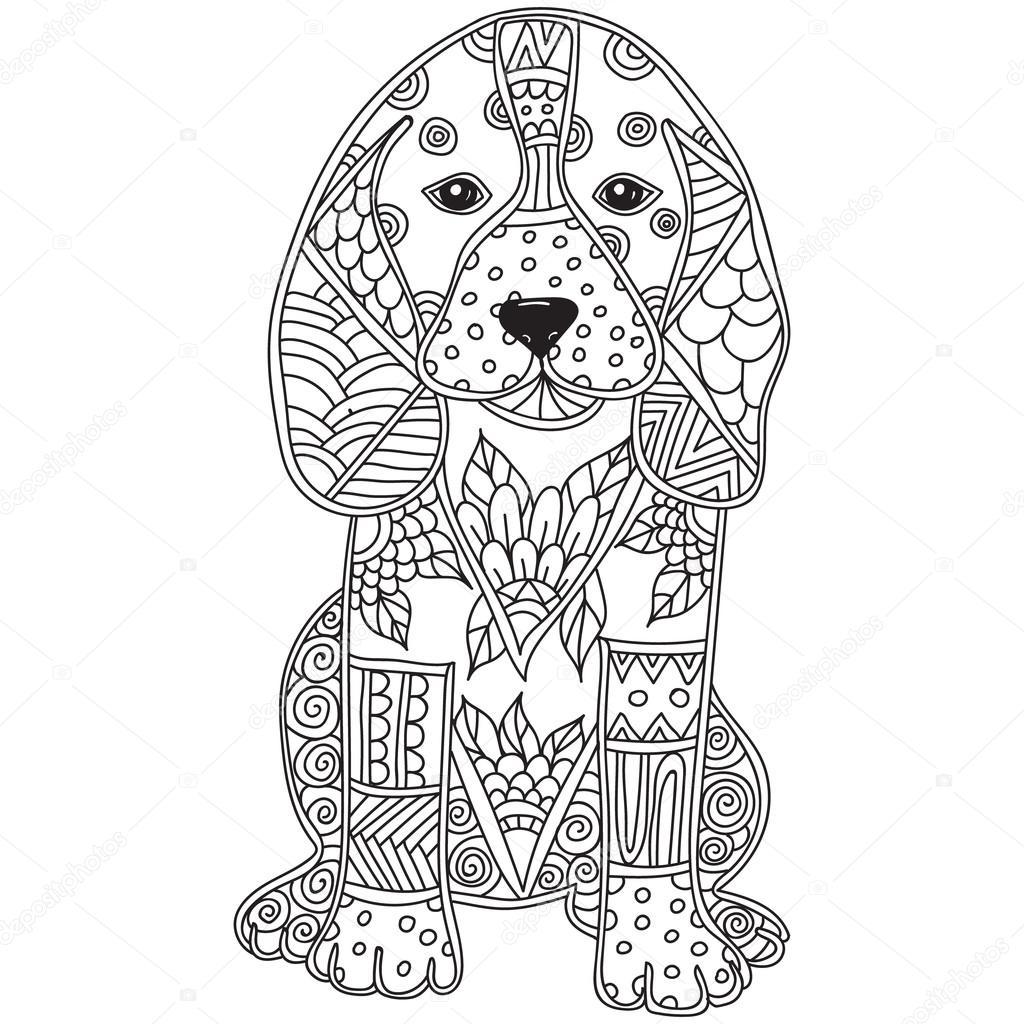 Раскраски для взрослых собака. Собака взрослых антистресс ...