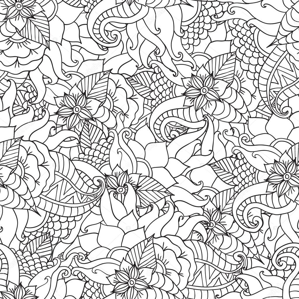Yetişkinler Için Boyama Sayfaları Dekoratif El çizilmiş Doodle Doğa
