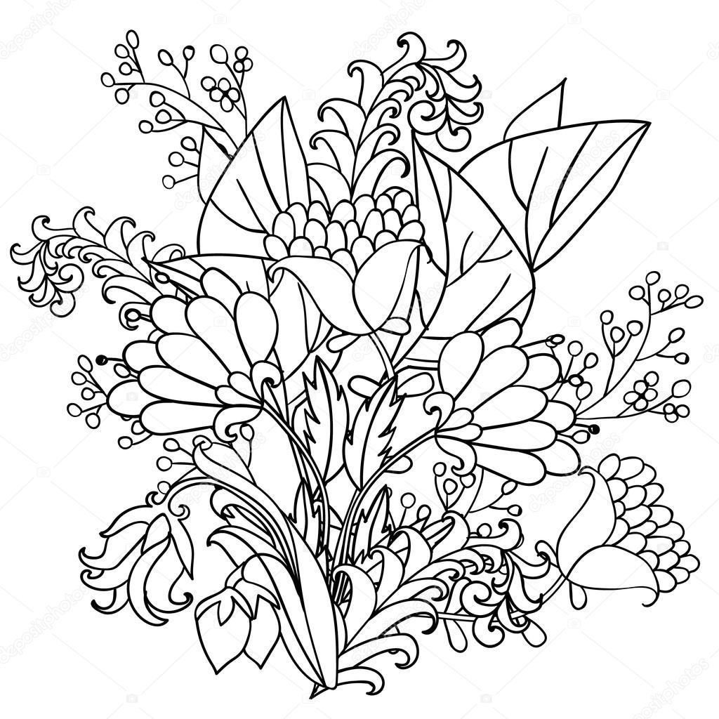Wektor Ozdobny Czarno Białe Kwiaty Grafika Wektorowa
