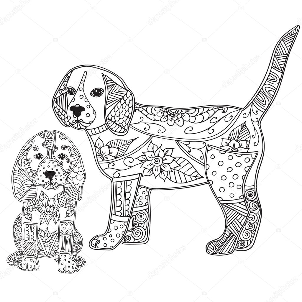 Dog And Puppy Adult Antistress Or Children Coloring Page