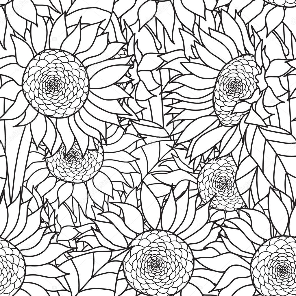 Seamless Sunflowers bouquet. Vector. Coloring book page for adults. Hand drawn artwork. Love bohemia concept  wedding invitation, card, ticket, branding, logo, label. Gift  girl, women. Black and