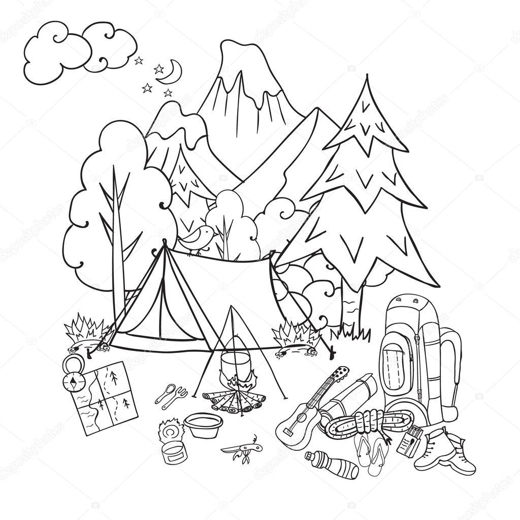 Recreación. Turismo y camping. Dibujado a mano doodle elementos de ...