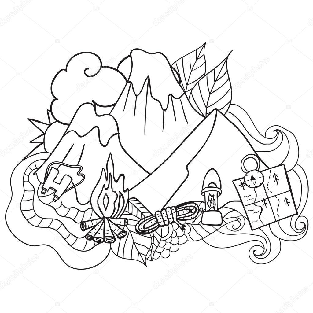 Recreación. Turismo y camping. Dibujado a mano doodle elementos ...