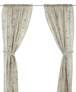 Classic translucent flax curtain with floral pattern.