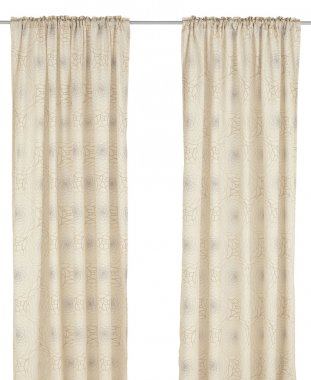 Classic translucent pastel curtain with floral pattern
