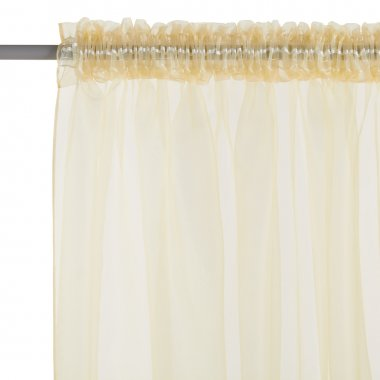 Fragment of  the brown translucent organza  curtain with mount.