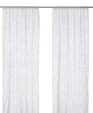 Classic translucent white curtain with floral pattern