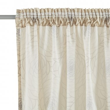 Fragment of the translucent  curtain with mount