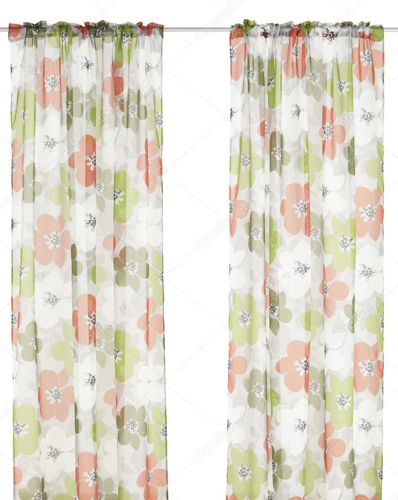 klassieke doorschijnende gordijnen met bloemmotief stockfoto