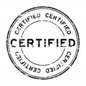 Grunge black certified stamp on white background