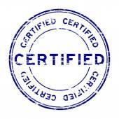Grunge blue certified stamp on white background