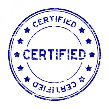 Grunge blue round certified stamp with star on white background